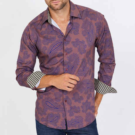 Tessinari Long-Sleeve Button-Up Shirt // Copper (S)