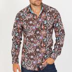 Enza Long-Sleeve Button-Up Shirt // Brown (XL)