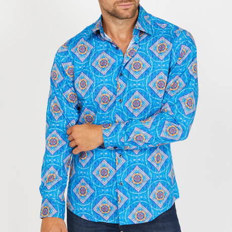 Larry Long-Sleeve Button-Up Shirt // Aqua (S)