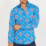 Larry Long-Sleeve Button-Up Shirt // Aqua (M)