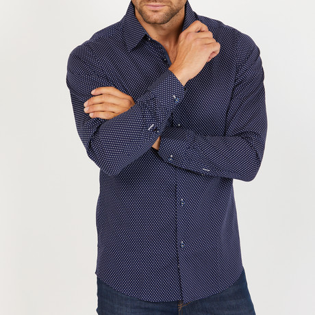 Jack Long-Sleeve Button-Up Shirt // Navy (S)
