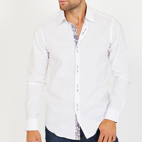 Curtis Long-Sleeve Button-Up Shirt // White (S)