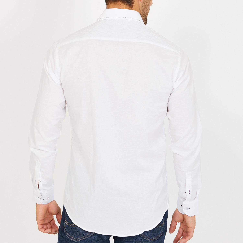 Curtis Long Sleeve Button Up Shirt White L Blanc