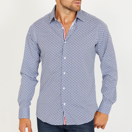 Simon Long-Sleeve Button-Up Shirt // Navy + White (S)