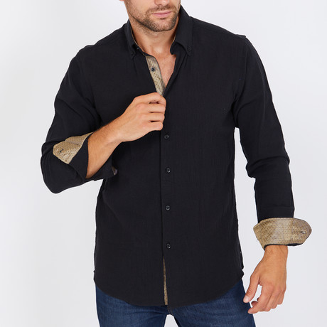 Kaplan Long-Sleeve Button-Up Shirt // Black (S)
