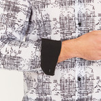 Roy Long-Sleeve Button-Up Shirt // White + Black (S)