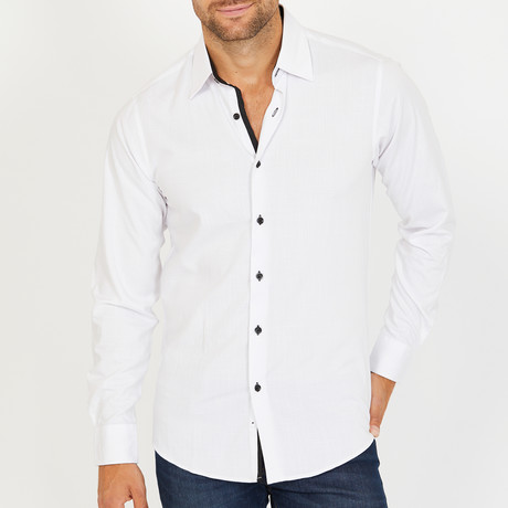 Wenman Long-Sleeve Button-Up Shirt // White (S)