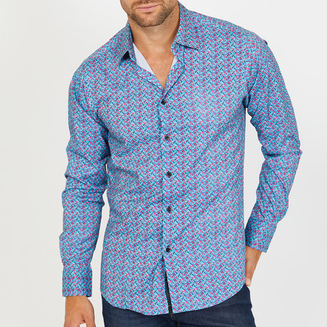 Andrew Long-Sleeve Button-Up Shirt // Pink and Blue (S)