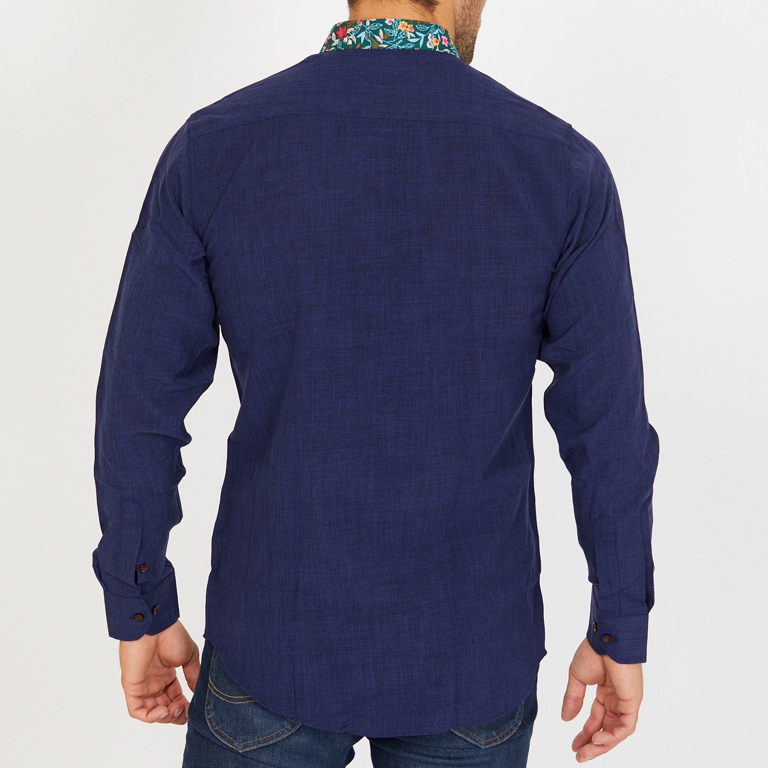 Malcolm Long Sleeve Button Up Shirt Navy S Blanc