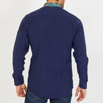 Malcolm Long-Sleeve Button-Up Shirt // Navy (S)