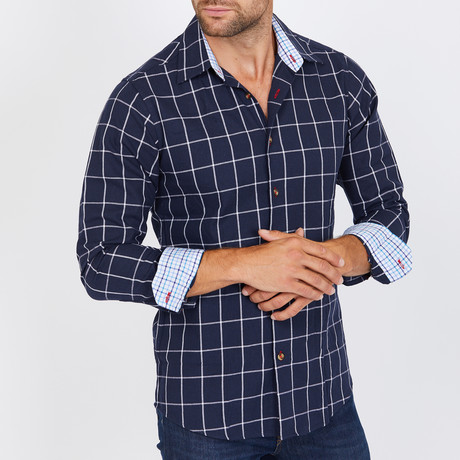 Bruce Long-Sleeve Button-Up Shirt // Navy (S)