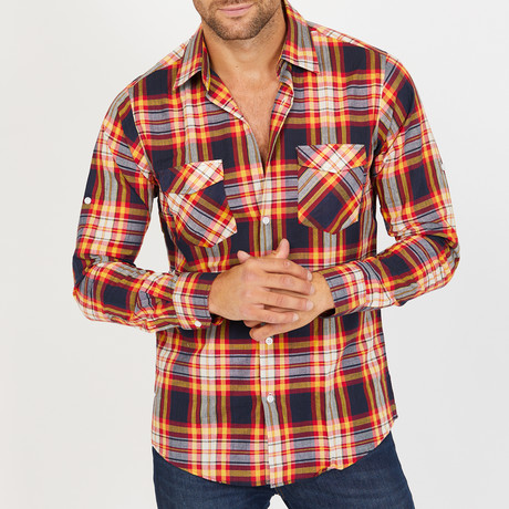Rusty Long-Sleeve Button-Up Shirt // Orange (S)