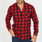 Nathan Long-Sleeve Button-Up Shirt // Red + Black (S)