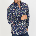 Chip Long-Sleeve Button-Up Shirt // Navy (M)