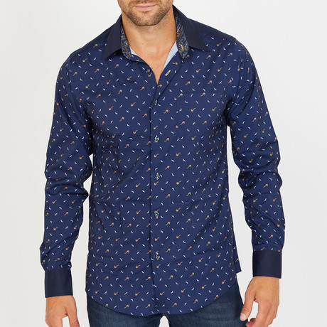 Keaton Long-Sleeve Button-Up Shirt // Navy (S)