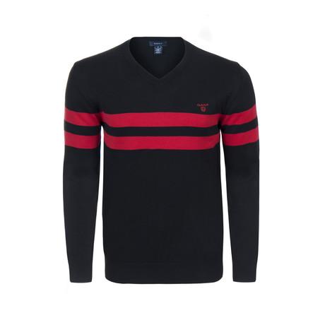 Gant Double Stripe V-Neck Sweater // Black + Red