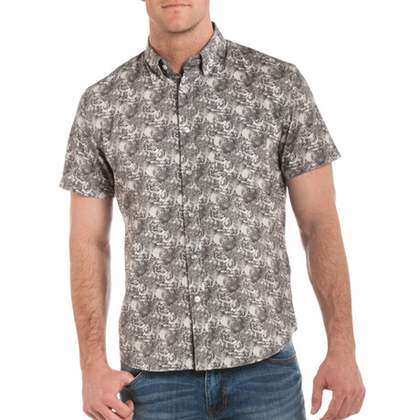 Dylan Short Sleeve Button Down // Gray Pattern (S)