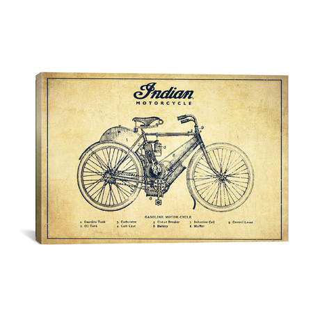 "Indian Vintage Patent Blueprint // Aged Pixel (18""W x 12""H x 0.75""D)"