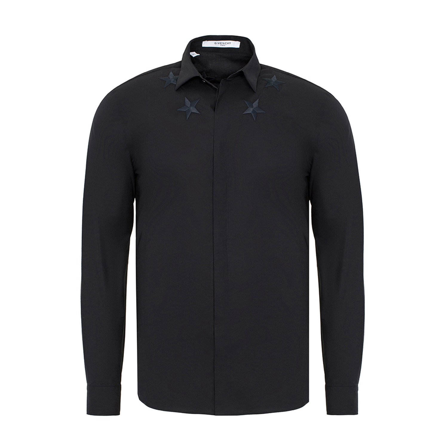 Stars Embroidered Slim-Fit Button-Down Shirt // Black (S ...