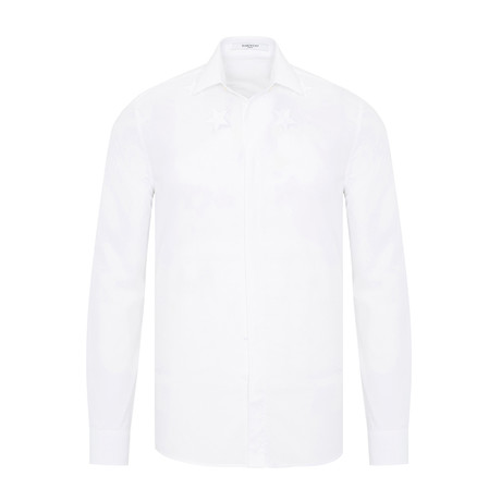 Givenchy Stars Embroidered Slim-Fit Button-Down Shirt // White (S)