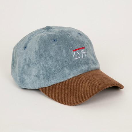 Qilogram Suede Dad Hat // Steel Blue + Corduroy