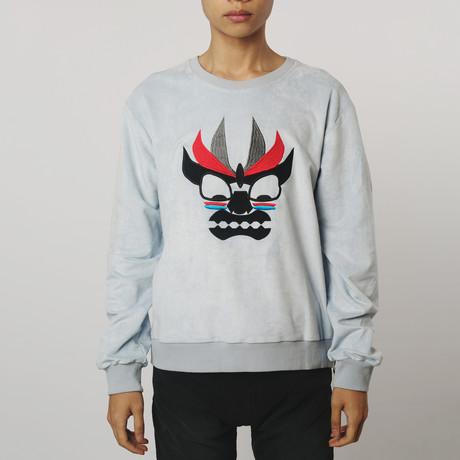 Aku Embroidered Suede Sweatshirt // Powder Blue (S)