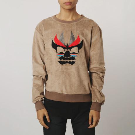 Aku Embroidered Suede Sweatshirt // Coffee (S)