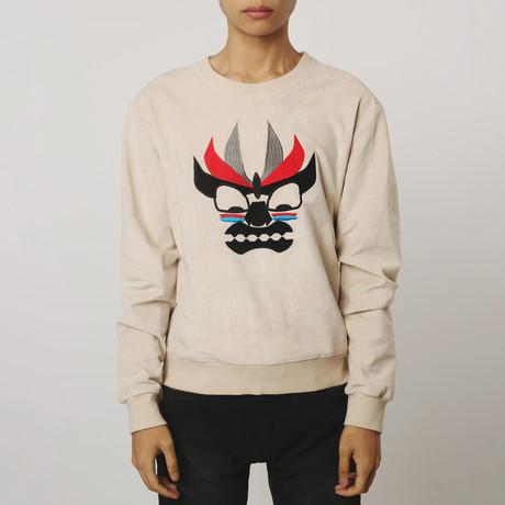 Aku Embroidered Suede Sweatshirt // Cream (S)