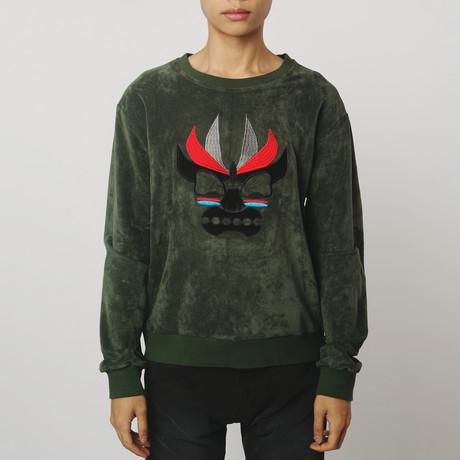 Aku Embroidered Suede Sweatshirt // Olive (S)