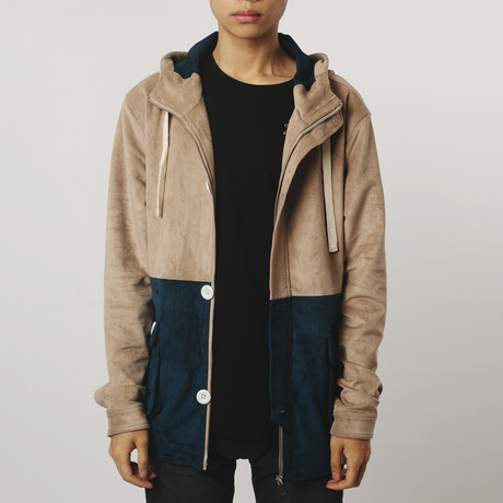 Suede Anorak Two-Tone // Coffee + Navy (S)