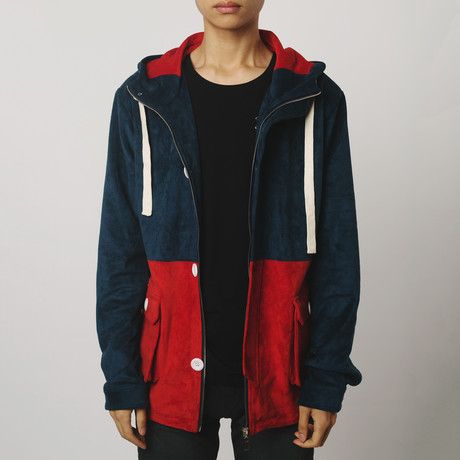 Suede Anorak Two-Tone // Navy + Red (S)