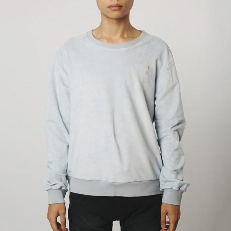 Suede Side-Zip Sweatshirt // Powder Blue (S)