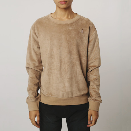 Suede Side-Zip Sweatshirt // Coffee (S)