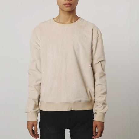 Suede Side-Zip Sweatshirt // Cream (S)