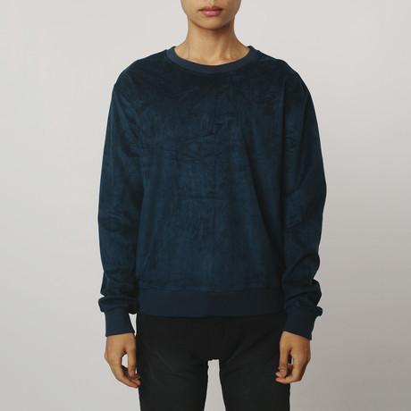 Suede Side-Zip Sweatshirt // Navy (S)