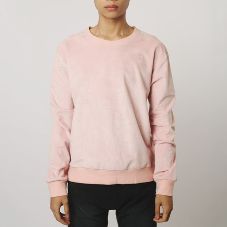 Suede Side-Zip Sweatshirt // Pink (S)