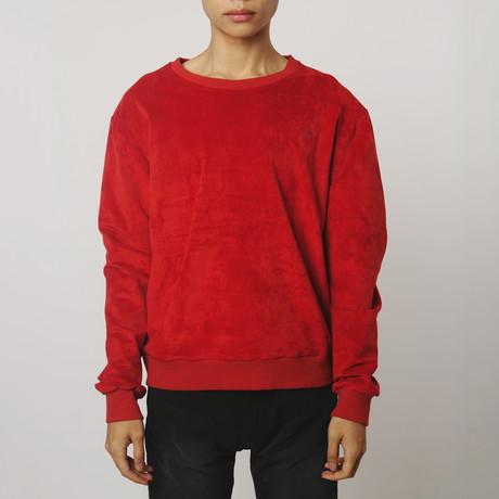 Suede Side-Zip Sweatshirt // Red (S)