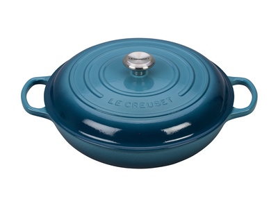 INOpets.com Anything for Pets Parents & Their Pets Le Creuset Cast Iron Cookware Signature Braiser // 5 qt (Marine)