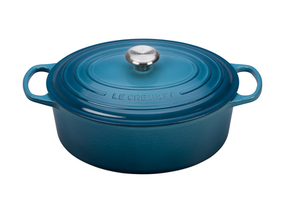 Le Creuset Cast Iron Cookware Signature Oval Dutch Oven // 6.75 qt (Marine)