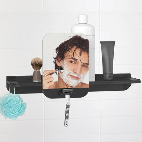 Glide Shower Shelf + Mirror (Black)
