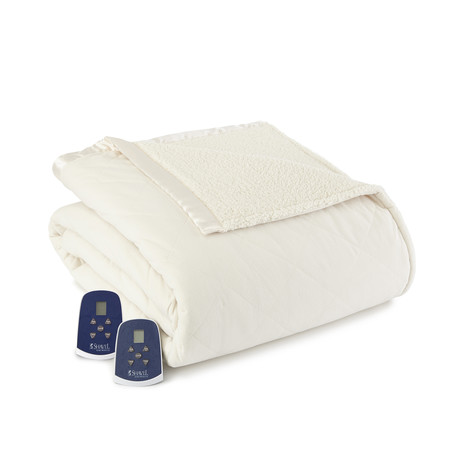 Micro Flannel Sherpa Heated Blanket // Ivory (Twin)