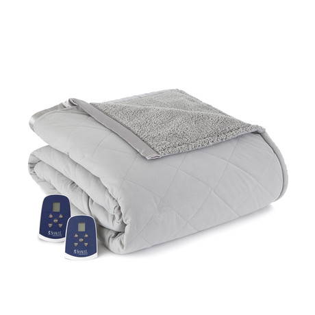 Micro Flannel Sherpa Heated Blanket // Graystone (Twin)