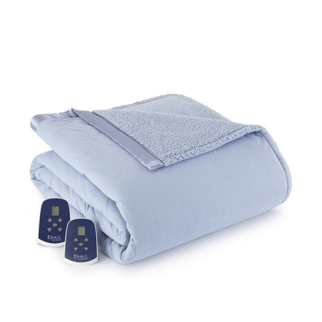 Micro Flannel Sherpa Heated Blanket // Wedgewood (Twin)