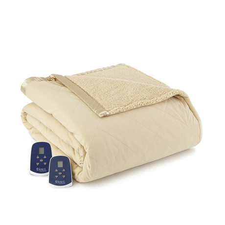 Micro Flannel Sherpa Heated Blanket // Chino (Twin)