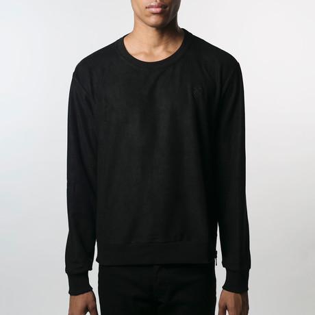 Suede Side-Zip Sweatshirt // Black (S)