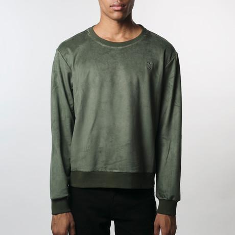 Suede Side-Zip Sweatshirt // Olive (S)