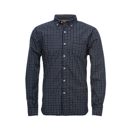 Truman Button Collar Shirt // Navy Grid Check (XS)