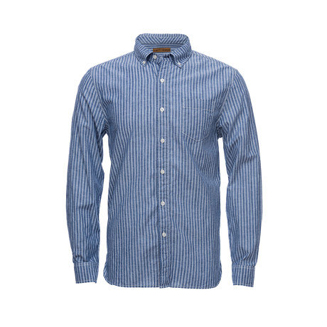 Truman Button Collar Shirt // Chambray Triple Stripe (XS)