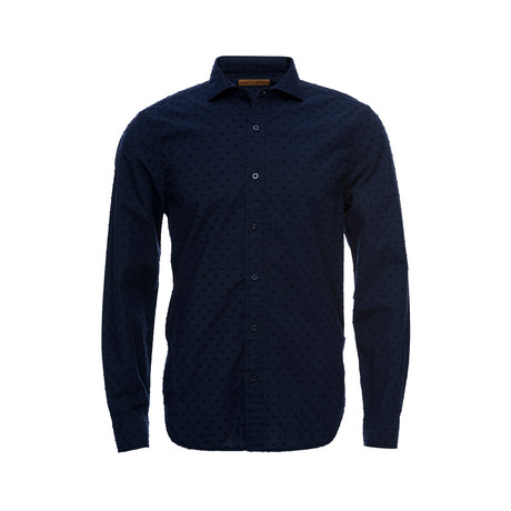 Earnest Spread Collar Shirt // Navy Swiss Dot (XS)