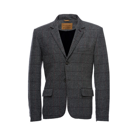 Kurt Notched Lapel Wool Windowpane Blazer // Gray (XS)